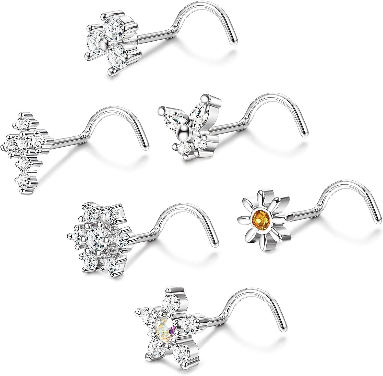 TEN MIRO 20G Nose Ring L Shape Bone Screw Nose Studs Stainless Steel CZ Flower Butterfly Snowflake Nose Stud Screw Retainer Piercing Jewelry Set for Women Men 6PCS