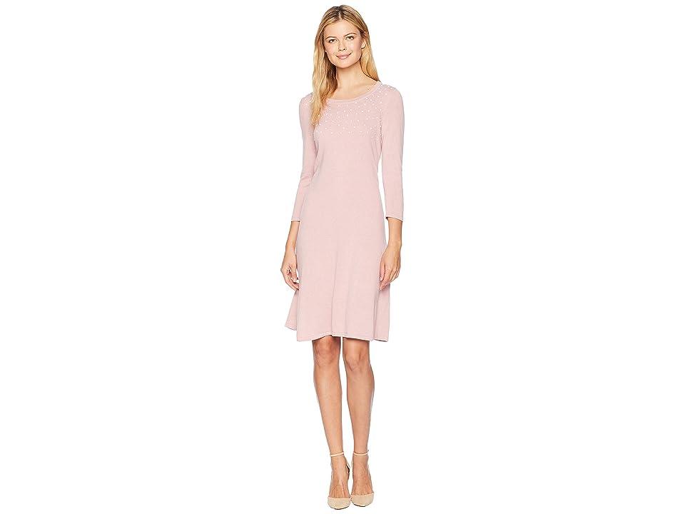 Nine West 3/4 Sleeve Shift Sweater Dress w/ Pearl Details (Mauve) Women