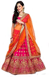 779b14dc53 Sojitra Enterprise Women's Bangalori Silk Embroidered Semi Stitched Pink  colour Lehenga Choli For Women (Free
