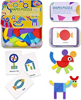 Wooden Pattern Blocks Animals Jigsaw Shape Fun Puzzle for Hours, Montessori Educational Toys, Learn Sorting & Stacking for Kids Toddlers, Boys and Girls (36 Geometric Shapes Pieces & 60 Design Cards)