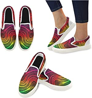 InterestPrint Women's Casual Canvas Slip-on Flat Shoes Feather Pattern Comfortable Loafers Outdoor