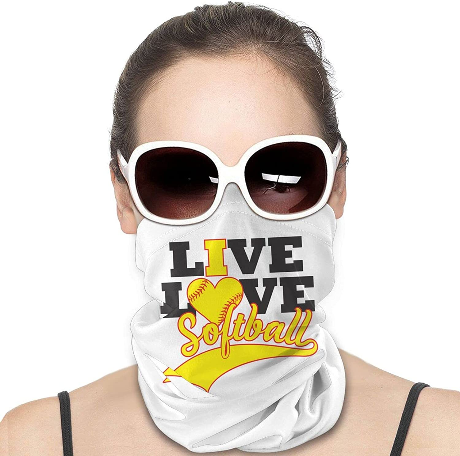 Live Love Softball Round Neck Gaiter Bandnas Face Cover Uv Protection Prevent bask in Ice Scarf Headbands Perfect for Motorcycle Cycling Running Festival Raves Outdoors