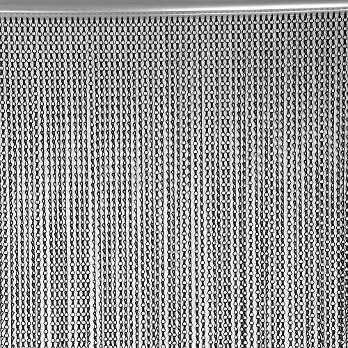 EBTOOLS Aluminium Tür Fenster Metall Vorhang 90 × 214,5 cm Aluminium Metallkette Streifen Vorhang Fliegen Schädlingsbekämpfung Dekoration Türschutz schwarz