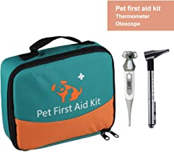 Pet First Aid Kit, Veterinary First Aid Bag for Dog, Cat, Rabbit, Animal, with Thermometer, Otoscope, Perfect for Home Care and Outdoor Travel Emergencies