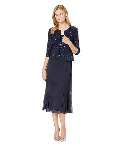 Alex Evenings Tea Length Mock Jacket Dress with Sequin Detail (Navy) Women