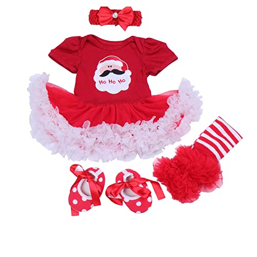 aaaa31333 BabyPreg Baby Girls My First Christmas Santa Costume Party Dress 4PCS