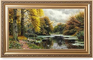 DECORARTS - River Landscape 1903, by Peder Mork Monsted Oil Painting Reproductions. Giclee Print Stretched Framed Size: 36x22