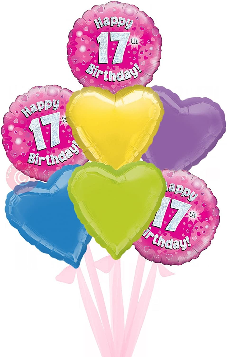 Num 17 Happy 17th Birthday Pink Holographic  Inflated Birthday Helium Balloon Delivered in a Box  Bigger Bouquet  7 Balloons  Bloonaway