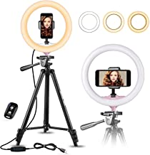 "10"" Selfie Ring Light with 50"" Extendable Tripod Stand & Flexible Phone Holder for Live Stream/Makeup, UBeesize Mini Led C..."