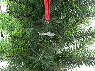 Personalized Custom Helicopter Clear Acrylic Hanging Christmas Tree Ornament with Red Ribbon