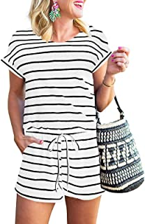 Women's Summer Short Sleeve Striped Jumpsuit Rompers with...