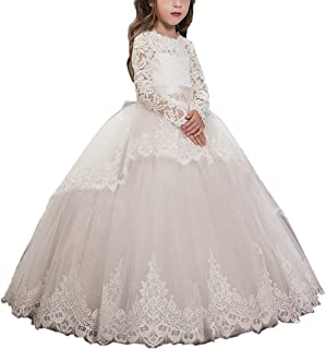 ABaowedding Pink Lace up Long Sleeves Flower Girl First Communion Dresses