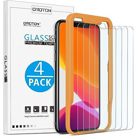 OMOTON Protector Pantalla iPhone 11 Pro/iPhone XS/X Cristal Templado, iPhone 11 Pro Protector de Pantalla, 2.5D Cristal Templado, con Guía Marco, Anti-arañazos, 4 Pack