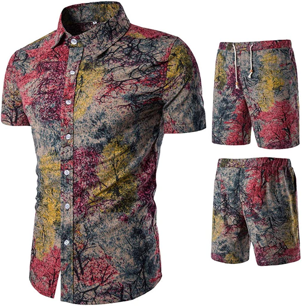 FORUU Men Street Shirt and Shorts Set 2020 Summer Fashion Stylish Style Printed Outfit Two Piece Set Suit