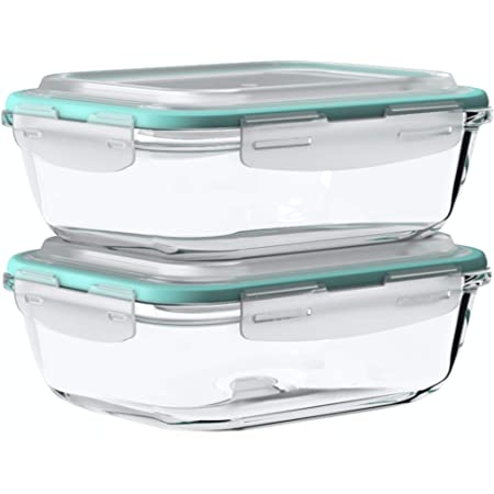 Vallo Large Glass Food Storage Container with Snap Lock Lids for Leftovers - Safe for Microwave, Oven, Dishwasher, Freezer - BPA Free - Airtight & Leakproof [2 Pack]