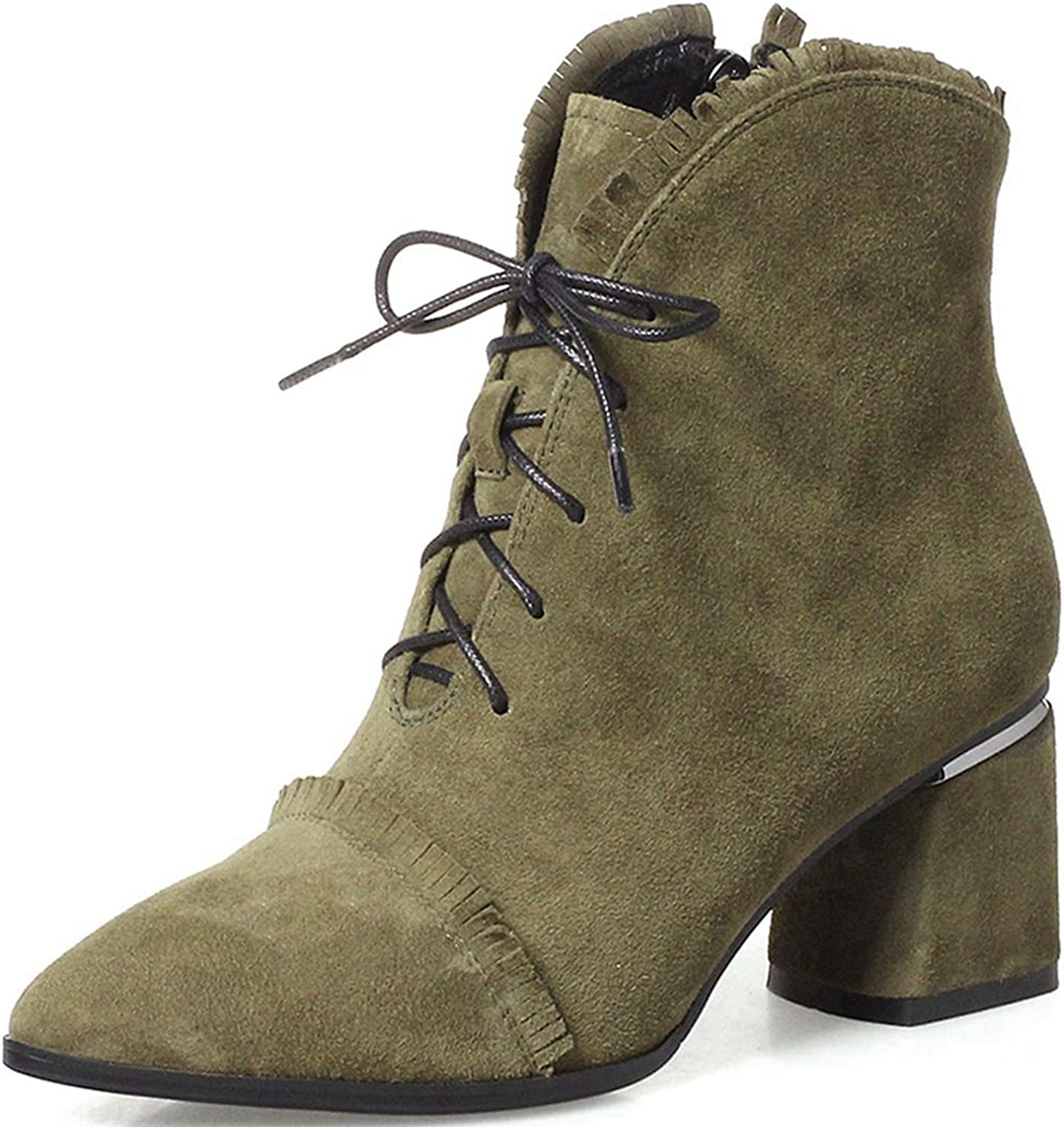 VIMISAOI Women's Tassel Suede Pointed Toe Lace-up Ankle Boots