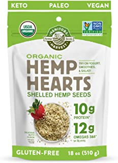 Manitoba Harvest Organic Hemp Hearts Shelled Hemp Seeds, 18oz; 10g Plant-Based Protein & 12g Omegas per Serving, Whole 30 ...
