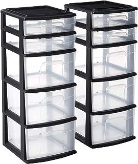 HOMZ Plastic 5 Drawer Medium Storage Tower, Black Frame, Clear Drawers, Set of 2