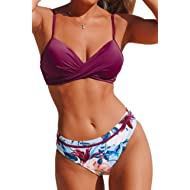 Women's Wrap Top Floral Bottom Bathing Suit Two Piece Sexy Swimsuit