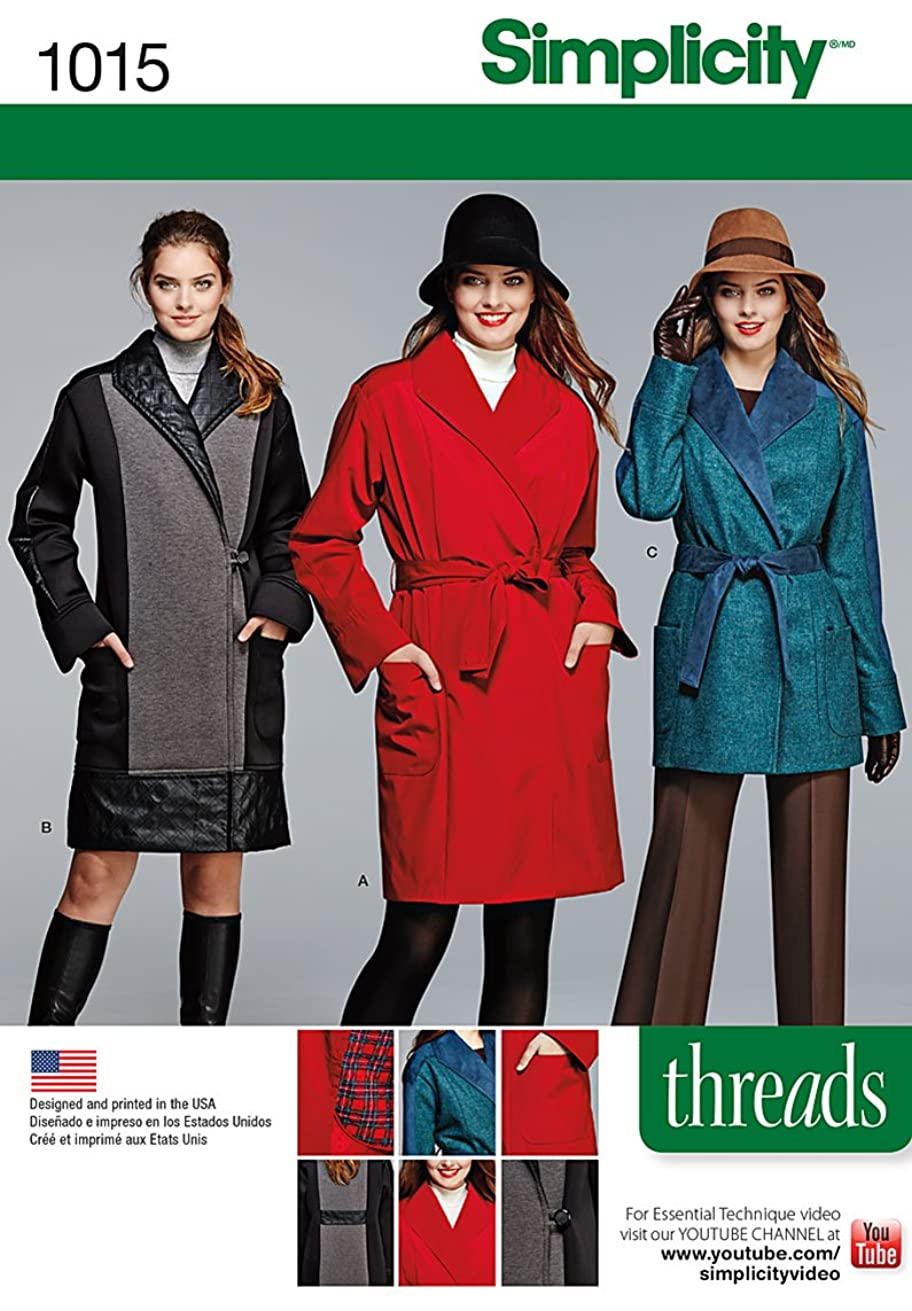 Simplicity Creative Patterns US1015H5 Miss/Petite Coat or Jacket Threads Magazine Collection, Size H5 (6-8-10-12-14)