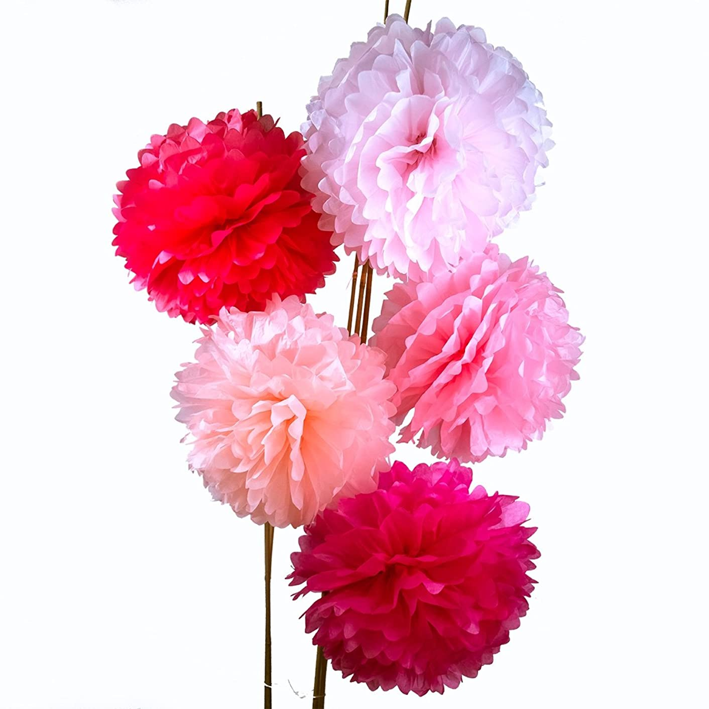 Luna Bazaar Tissue Paper Pom Poms (10-Inch, Multicolor Pinks, Set of 5) - for Baby Showers, Nurseries, and Parties - Hanging Paper Flower Decorations