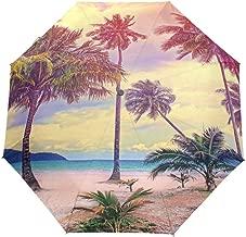 MAOXUXIN Paradise Nature Palm Tree 3 Folds Auto Open Close Anti-UV Umbrella