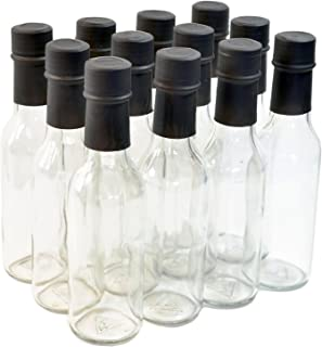 nicebottles Clear Glass Woozy Bottles with Shrink Capsules, 5 Oz, Case of 12