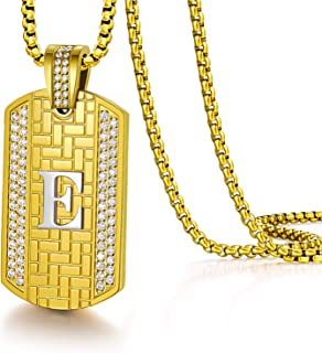 Initial Necklace for Men Capital Letter Pendant Gold...