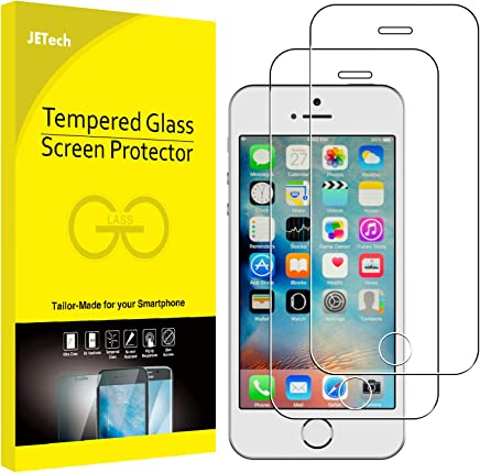 JETech Film de Protection d'écran pour iPhone SE, iPhone 5s et iPhone 5 en Verre Trempé, Lot de 2