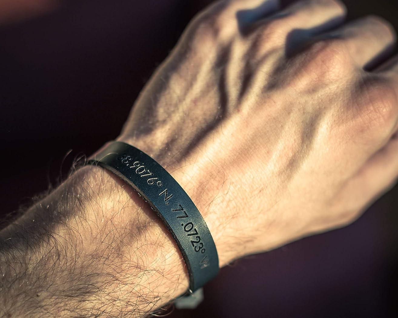 Custom engraved black leather bracelet for men, personalized coordinates bracelet for him