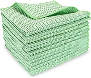 Arkwright Microfiber Waffle Cloths Pack of 12, Perfect for Cleaning Countertops, Windows, Auto Detailing, Dusting (16 x 16 Inch, Green)