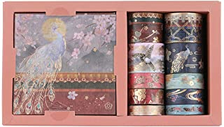 RisyPisy Washi Tape Set, Forbidden City Gilded Series Masking Tapes, 10 Rolls Decorative Adhesive Tape with 10 Sheets Colo...