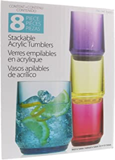 Set 8 Piece Stackable Acrylic Tumblers BPA Free - Indoor/Outdoor
