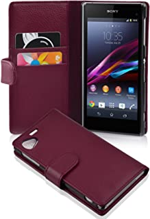 Cadorabo Case Works with Sony Xperia Z1 Compact in Pastel Purple (Design Book Structure) – with 2 Card Slots – Wallet Case Etui Cover Pouch PU Leather Flip
