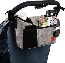 Kinderwagen-Organizer, universelle Kinderwagen-Aufbewahrungstasche mit 2 isolierten Getränkehaltern und Schultergurt, kann als Handtasche für Babyzubehör verwendet werden grau