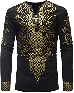 Mens Luxury African Print Autumn Winter Long Sleeve Dashiki Shirt Blouse