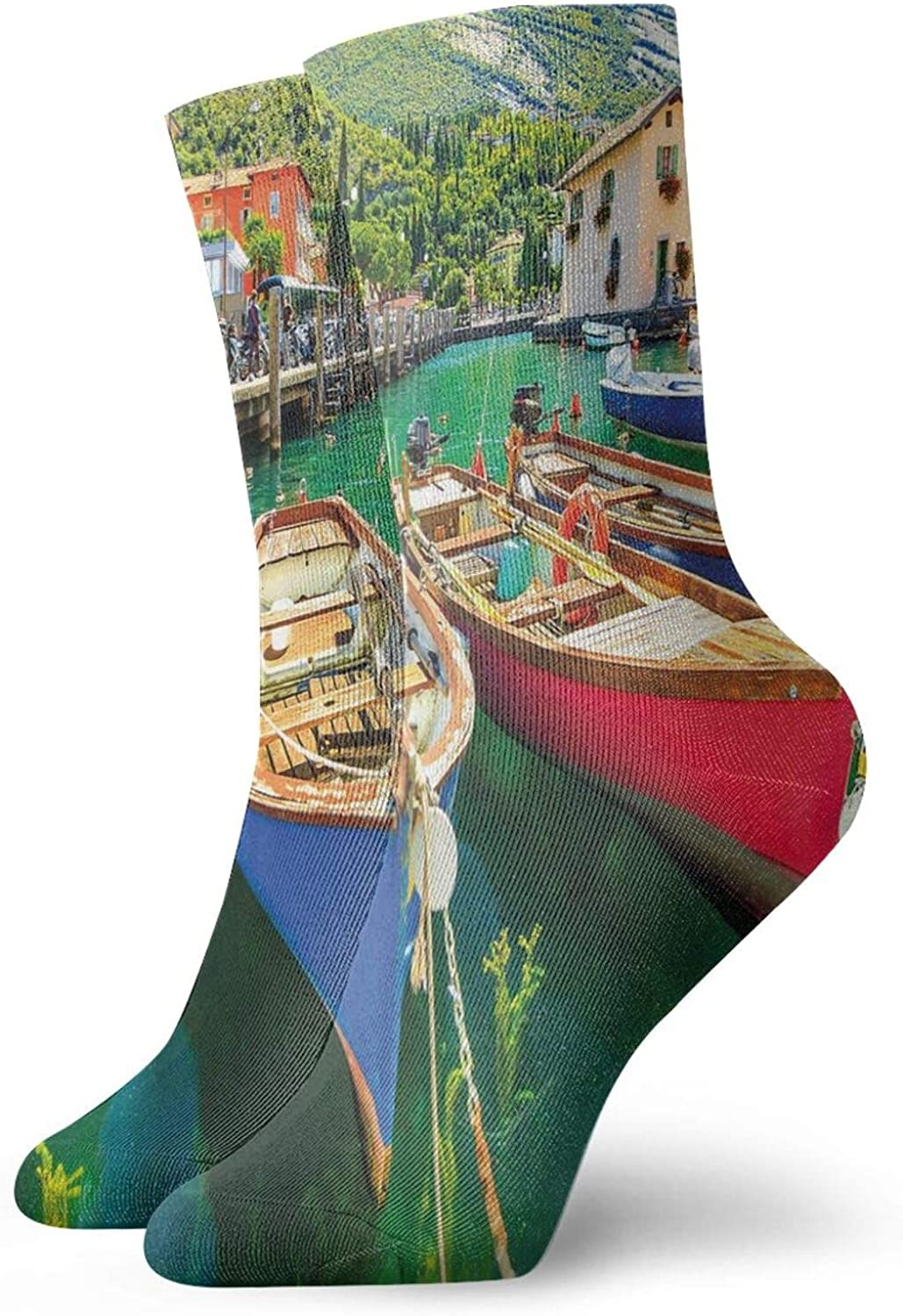 Compression High Socks-Summer Landscape And Wooden Boats On The Lake Garda Torbole Town Fishing Maritime Best for Running,Athletic,Hiking,Travel,Flight