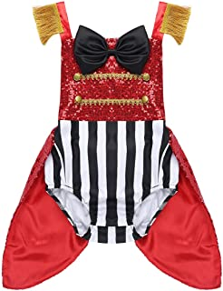 Kids Baby Girls Circus Ringmaster Costume Bowtie Romper Bodysuit Tail Coat for Halloween Cosplay Party Dress up