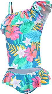Girls Two Piece Swimsuits Hawaiian Ruffle Tankini Swimwear Bathing Suit Set