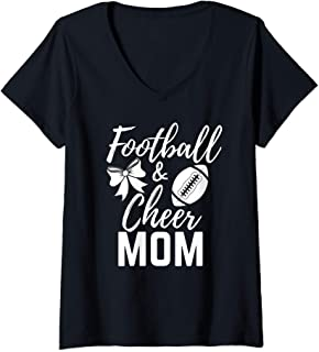 Womens Cute Funny Sports Mama Graphic Womens Football and Cheer Mom V-Neck T-Shirt