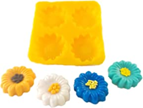 Flexible Molds - Daisy or Sunflower (4 Cavity) - Cream Cheese Mint Molds - Candy Melts - Fondant - Caramels - Soft Candy Molds