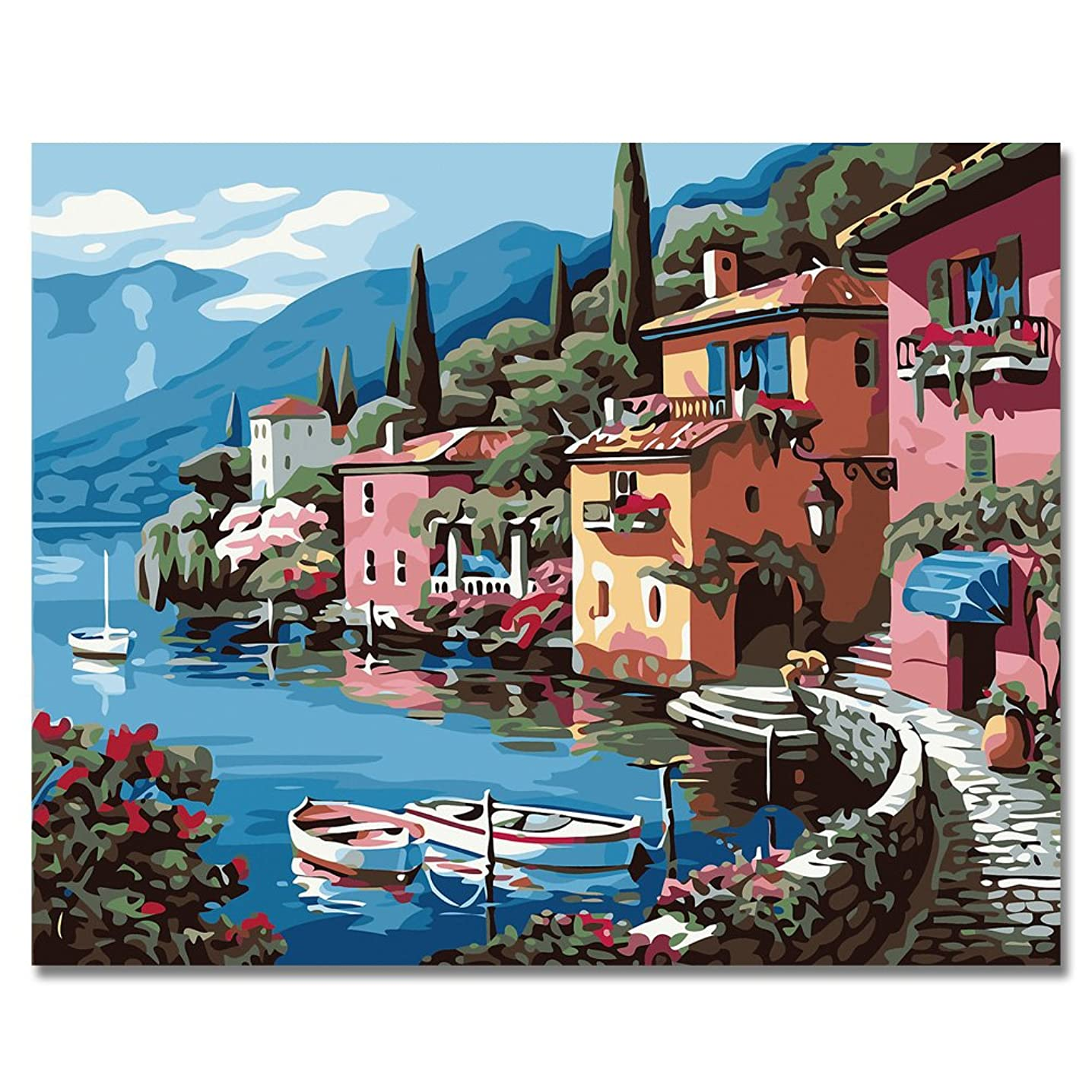 LIUDAO Paint By Number DIY Oil Painting on Canvas- Pink House 16x20 Inch Without Frame