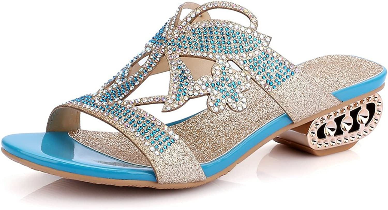 AIWEIYi Women's Low Heels Slides Slippers Rhinestone Sandal shoes gold