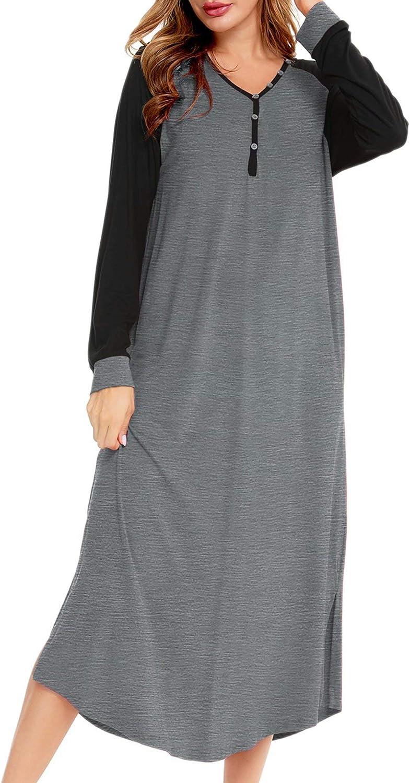 SWOMOG Nightgown Women's Henley Neck Loungewear Raglan Long Sleeve Nightshirt Full Length Sleep Dress