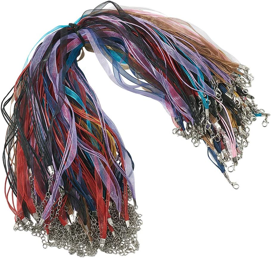 Beadthoven 100 Strands Multi-Strand Ribbon Necklace Cord with 3 Loops Waxed Cord Organza Ribbon Alloy Lobster Claw Clasps Chains for Necklace Making 17.7