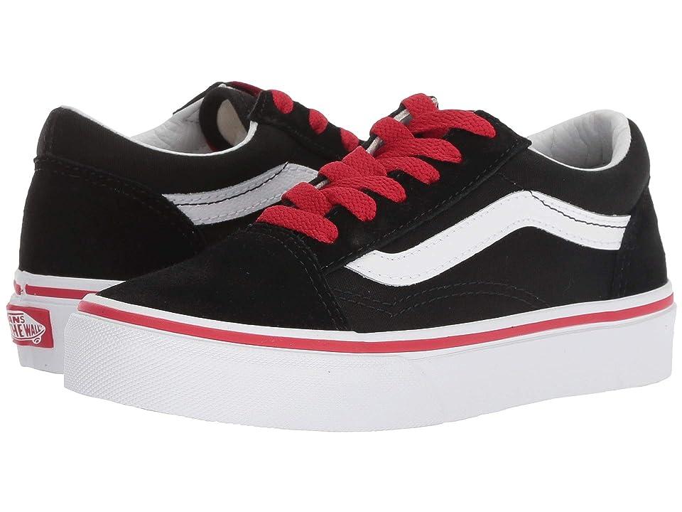 Vans Kids Old Skool (Little Kid/Big Kid) ((Pop) Black/Racing Red) Boys Shoes