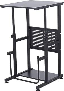 SDADI Adjustable Height Standing Desk Student Desk with Swinging Footrest Optional for Standing and Seating 2 Modes, Black L1010BFBT