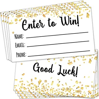 """100 Raffle Tickets 3.5""""x2"""" - Enter to Win Entry Form Cards for Giveaway Contest, Raffles, Ballot Box, 50/50, Auction and More - with Space for Name, Email Address and Phone Number Fields"""