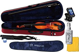 Stentor 1500-4/4 Violin Student II Hand Crafted Solid Tonewood Instrument with True Tune Chromatic Tuner, Polish and Polishing Cloth (4/4)