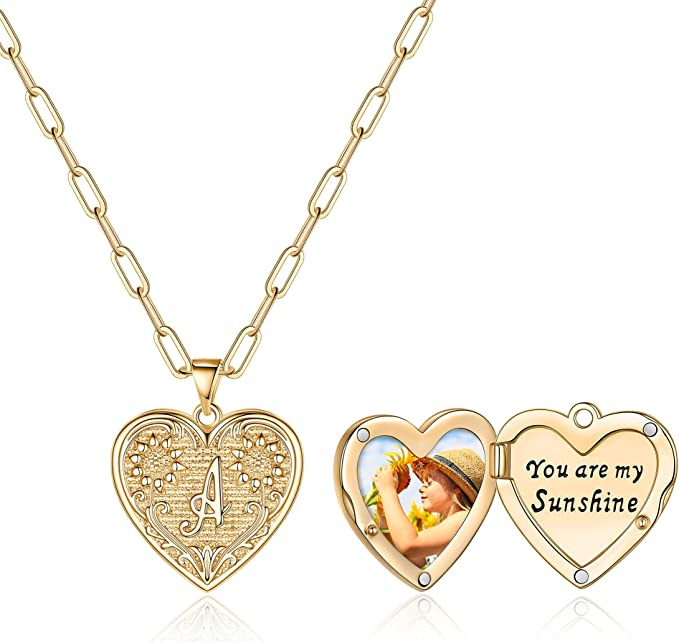 Sunflower Heart Locket Initial Necklaces That Holds Pictures, 14K Gold Plated Initial Heart Picture Necklace You are My Sunshine Sunflower Necklace Heart Locket Necklace for Women Girls Jewelry Gifts